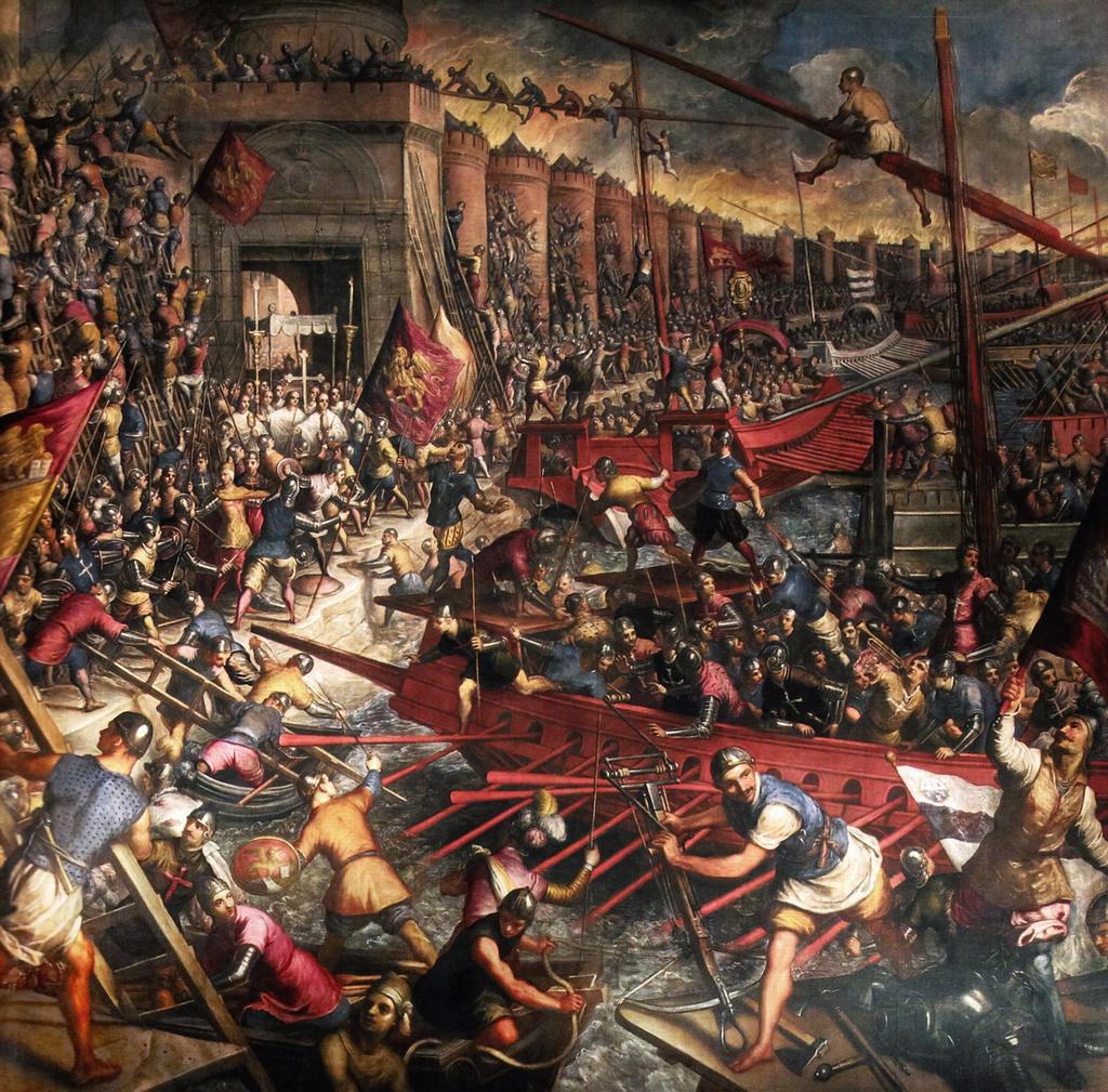 La caduta di Costantinopoli, dipinto del Tintoretto (al secolo Jacopo Robusti; 1518-1594). 1580 circa. Venezia, Palazzo Ducale, Sala del Maggior Consiglio.