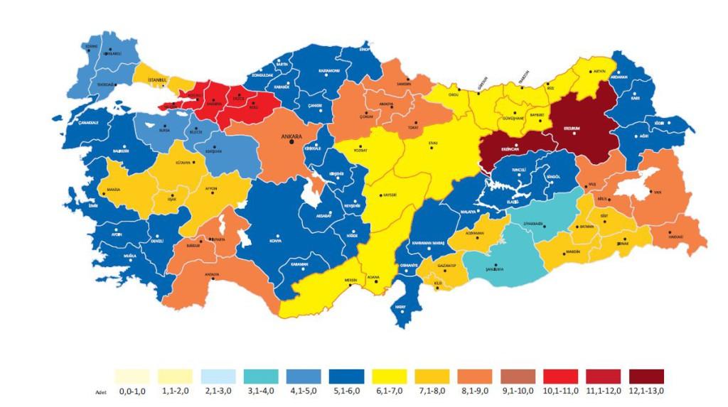 mappa 2 - media libri letti per provincia